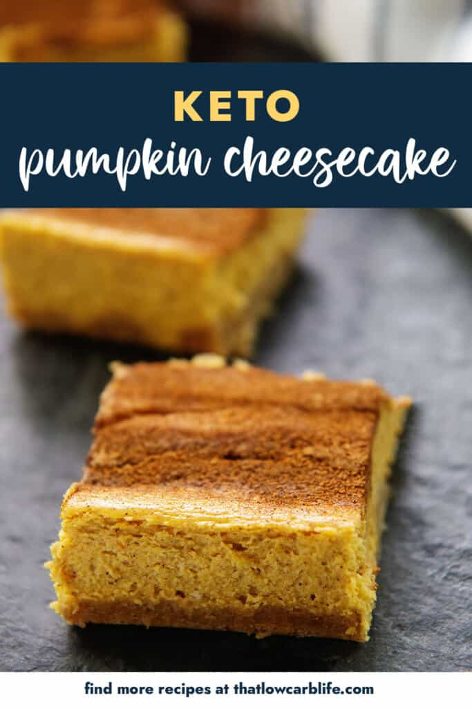slices of pumpkin cheesecake with text for Pinterest.