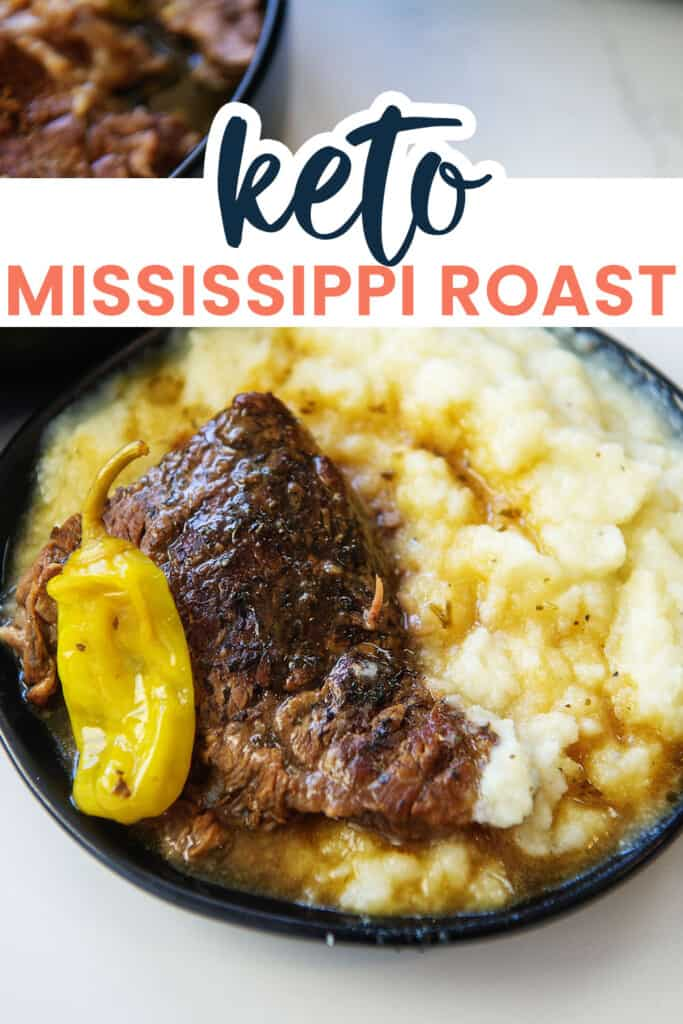 keto Mississippi pot roast on black plate with text for Pinterest.