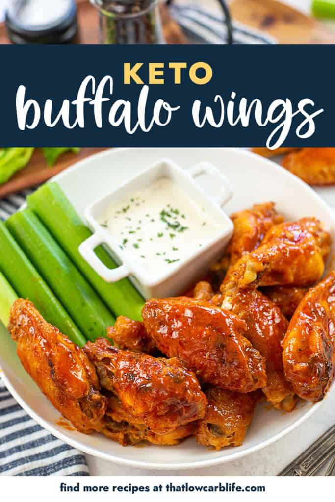 keto buffalo wings on white platter.