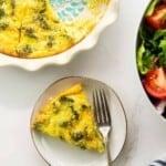 keto broccoli cheese quiche on plate.