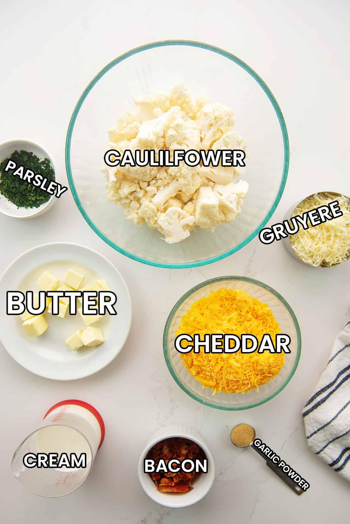 ingredients for cauliflower au gratin.
