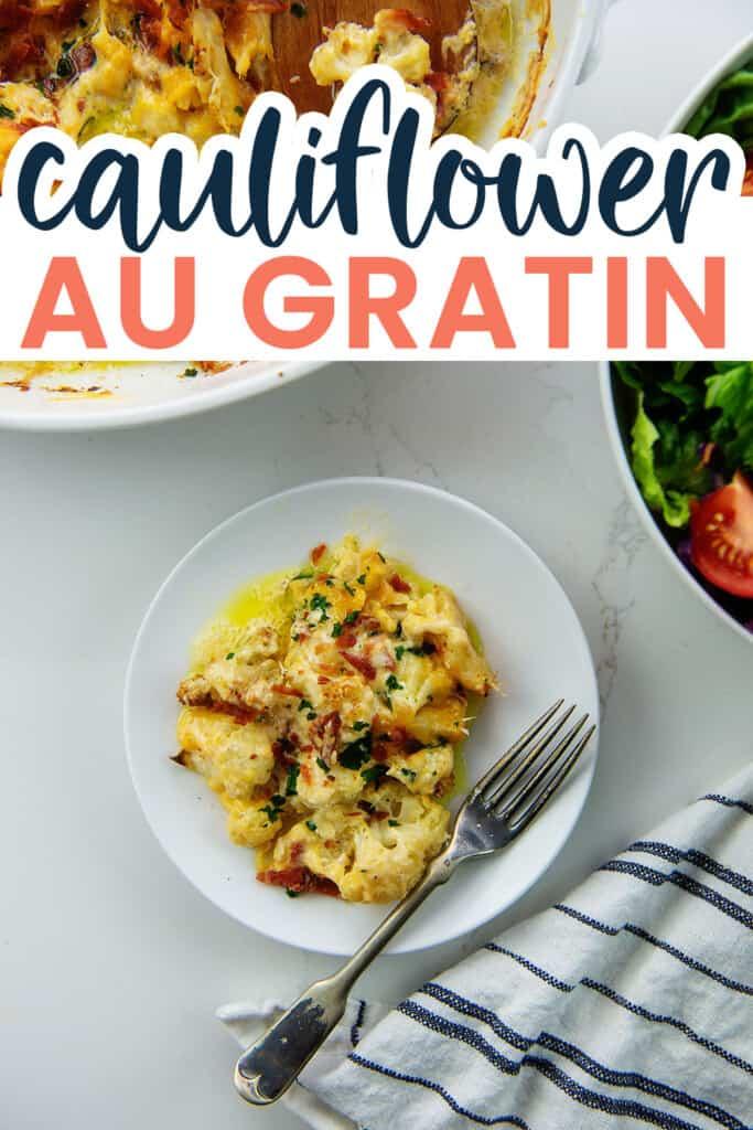 cauliflower au gratin on white plate.